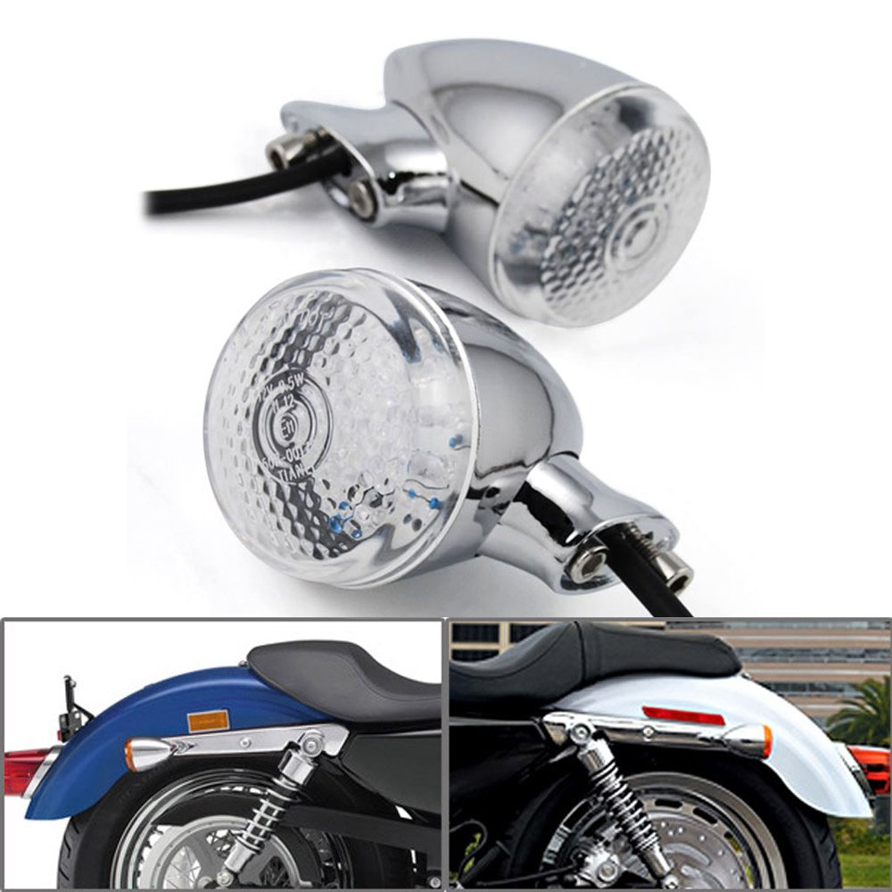 2x Custom 18 Amber LED Chrome Plated Amber Turn Signal Light Blinker Indicator Side Marker Rear Mount For Harley Davidson Cruiser Chopper Touring 2pcs amber yellow error free 48 smd py24w 5200s led bulbs w reflector mirror design for bmw audi front turn signal lights