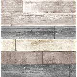 NuWallpaper NU1690 Reclaimed Wood Plank Natural Peel & Stick Wallpaper