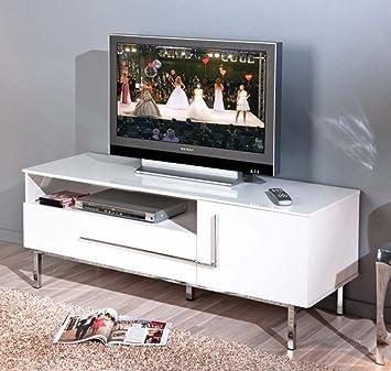 Banc TV coloris blanche en MDF - Dim : L 145 x H 49 x P 47cm -PEGANE-