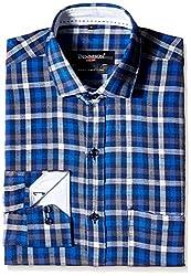 Dennison Men's Formal Shirt (SS-16-390_40_Blue)