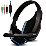 AFUNTA Gaming Headset for PS4 PC Smart Phone Laptop Tablet Mobilephones MP3 MP4,X1-S 4 Pin 3.5mm Jack Multi Function Game Headphones with Mic