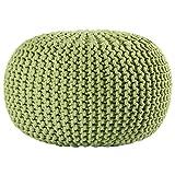 Pouf Ottoman Cotton Rope Pouf Ottoman, Green, 16-Inch