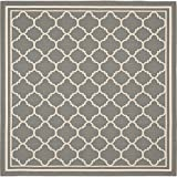 "Safavieh Courtyard Collection CY6918-246 Anthracite and Beige Square Area Rug, 7 feet 10 inches by 7 feet 10 inches Square (7'10"" x 7'10"" Square)"