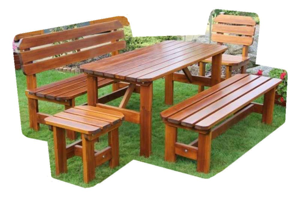 "Massivholz Garten Sitzgruppe ""ORB-4"" , Kiefer , unlackiert , Holzdicke 32 / 28 cm , 2 Gartenbänke , Gartenstuhl + Hocker , Massivholztisch . online kaufen"