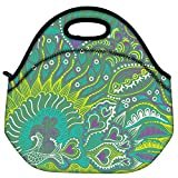 Snoogg Abstract Seamless Texture With Fish Travel Outdoor Carry Lunch Bag Picnic Tote Box Container Zip Out Removable... - B01B7GTR9A