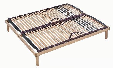 Somier multiláminas con estructura y 28 láminas de madera con reguladores lumbares | LEMON - 160x190 cm