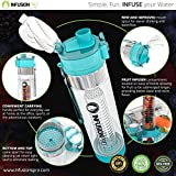 Infusion Pro Water Infuser - 24 oz Fruit Infused Water Bottle | Premium Leak Proof Tritan Plastic with Bottom Infusing Design | Flip Top Locking Spout with Neoprene Insulated Sleeve & Strainer