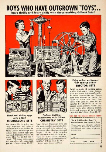 1956 Ad Erector Toy Sets Ac Gilbert Children Microscope Chemistry Science Boys - Original Print Ad