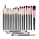 UNIMEIX Eye Makeup Brushes Set Eyeliner Eyeshadow Blending Brushes (20 Pieces Coffee) (Color: Brown, Tamaño: 20 pcs)