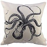 HOSL Octopus Cotton Linen Square Decorative Throw Pillow Case Cushion Cover about 17.3*17.3 Inch(44CM*44CM)