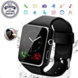 2019 Smart Watch,Bluetooth Smartwatch Touch Screen Wrist Watch with Camera/SIM Card Slot,Waterproof Smart Watch Sports Fitness Tracker Compatible with Android iOS Phones Samsung Huawei (Color: Black)