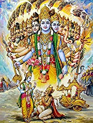 Tallenge - Krishna Reveals His Vishwaroop To Arjuna - A3 Size Rolled Poster