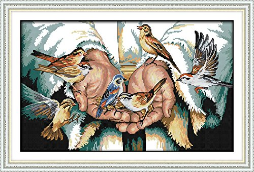 Joy Sunday Cross Stitch Kits 11CT Stamped Peace Palm 25.2x16.5 or 64cmx42cm Easy Patterns Embroidery for Girls Crafts DMC Cross-Stitch Supplies Needlework Animal Series (Color: Peace palm)