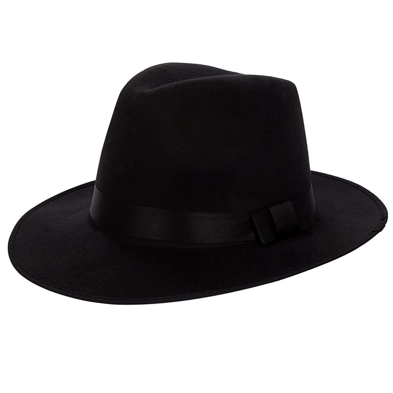 Aerusi Men's Vintage Wide Brim Hard Felt Fedora Panama Hat with Bowknot Black Ribbon 0