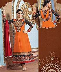 Awesome Orange Peel and Black Anarkali Semi Stitched Suit Material