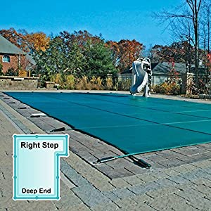 16 X 32 Ft Rectangle Mesh Safety Pool Cover With 4 X 8 Ft Right Step Swimming