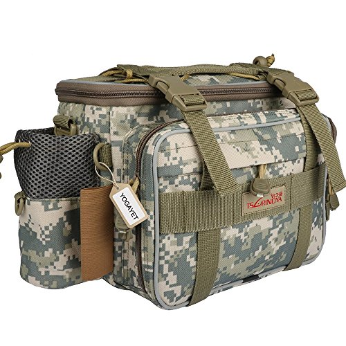 YOGAYET Portable Outdoor Fishing Tackle Bag Multifunctional Lure Waist Fanny Pack Water-Resistant Soft Sided Shoulder Carry Strap Storage Camo (Tackle Boxes And Bags compare prices)