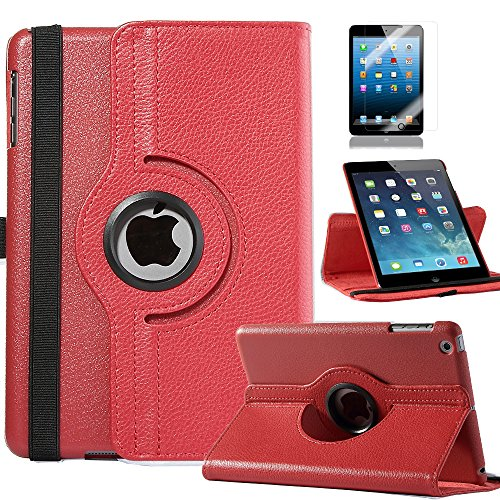 Pandamimi Ulak(Tm) 360 Degrees Rotating Stand Case Cover For Apple Ipad Mini 2Nd Tablet With Auto Wake / Sleep Feature (Red)