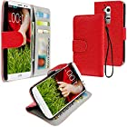myLife Scarlet Red Pebbled Print {Luxury Design} Faux Leather (Multipurpose - Card, Cash and ID Holder + Magnetic Closing) Folio Slimfold Wallet for the LG G2 Smartphone (External Textured Synthetic Leather with Magnetic Clip + Internal Secure Snap In Closure Hard Rubberized Bumper Holder)