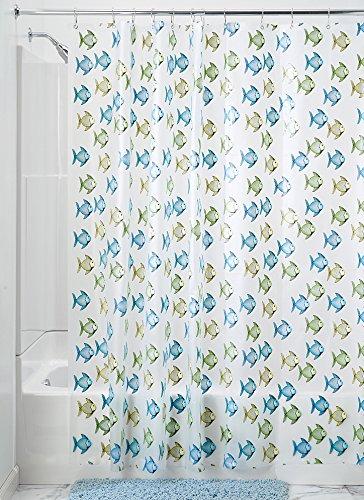 Interdesign 26498EU - Tenda da doccia, 180 x 200 cm, Fishy-Blau und Grün, 180-cm by 200-cm