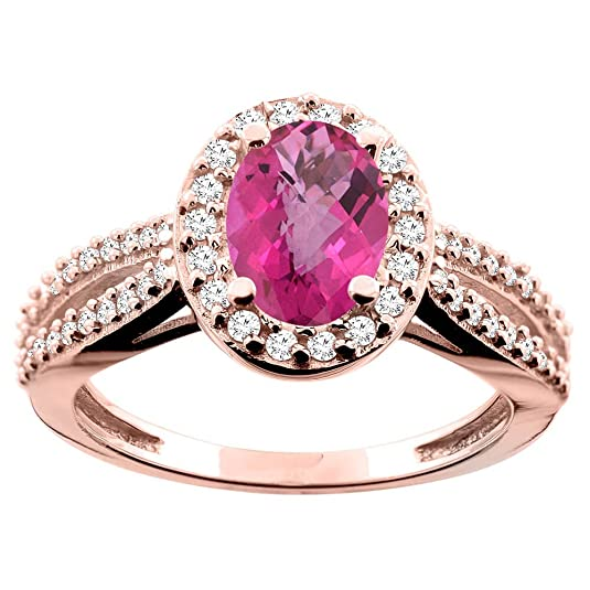 14ct Rose Gold Natural Pink Topaz Ring Oval 8x6mm Diamond Accent 7/16 inch wide, size O