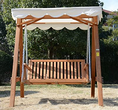 Outsunny 2 Seater Wooden Wood Garden Swing Chair Seat Hammock Bench Furniture Lounger Bed FSC certificated Wood New(Cream)