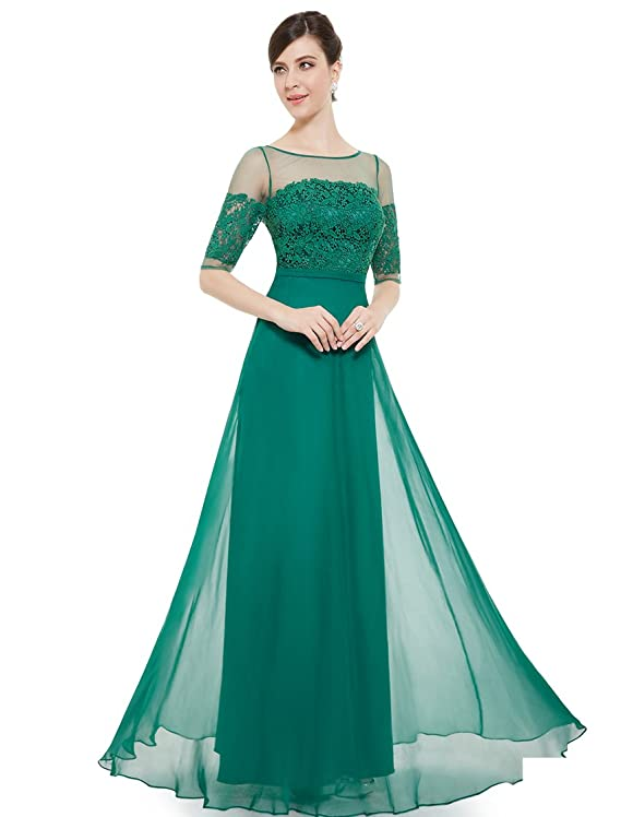 Ever Pretty Lace Illusion Half Sleeve Elegant Evening Dress Prom Gown 08459