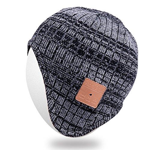 Mydeal senza fili Bluetooth Berretto Ear Covers Cuffie Cuffie con microfono altoparlante vivavoce per le donne degli uomini di sport esterni, compatibile con Iphone 7/7 più, Samsung, migliori regali di Natale - Nero / Grigio