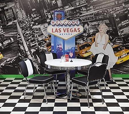 American Diner Tischgruppe King II 50er Jahre Look Bistro Set schwarz/weiß