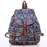 Women High Capacity Portable Canvas Backpack For Teen Girls Vintage Retro Students School College Laptop Hiking Leather Casual Backpacks Bag Blue Elephant