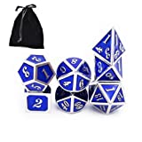 FIVE BEE 7pcs Metal Dice Set Enamel Polyhedral D&D Dice Set for Playing Table Games Dungeons&Dragons Pathfinder Shadowrun DND RPG MTG Dice Gaming and Math Teaching(Tiffany Blue)