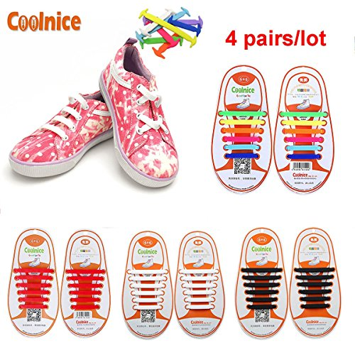 Coolnice 4 Pairs No Tie Shoelaces for Kids Funny DIY 412pcs- Elastic Stretch Environmentally Safe silicone - Lazy Shoestrings- 4 Colors (Zapatos Good Year compare prices)