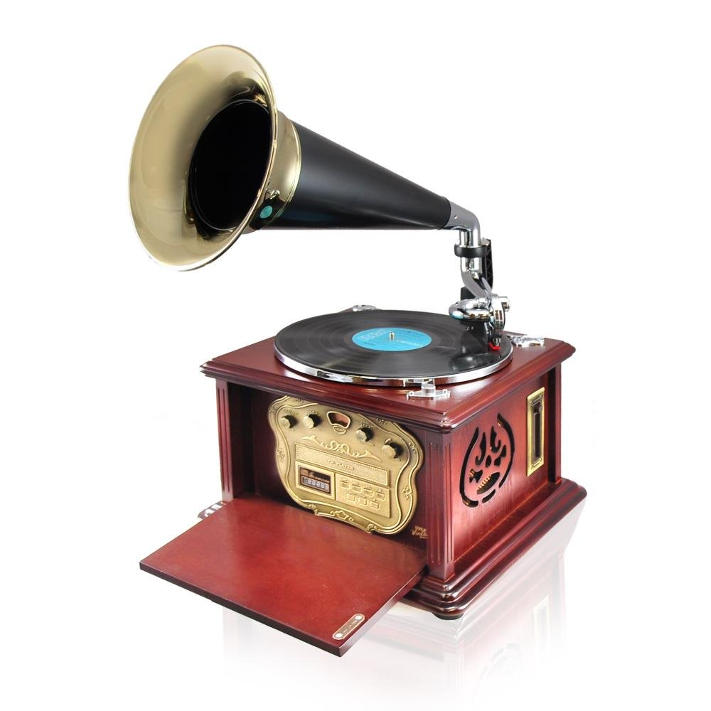 Pyle PUNP32BT Vintage Retro Classic Style Bluetooth Turntable Phonograph Speaker Sound System 0