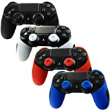 Pandaren Soft Silicone Thicker Half Skin Cover for PS4 /SLIM /PRO Controller Set (Skin X 4 + Thumb Grip X 8)(Black,White,Red,Blule) (Color: Black,White,Red,Blue, Tamaño: PS4 Thicker Half Cover)