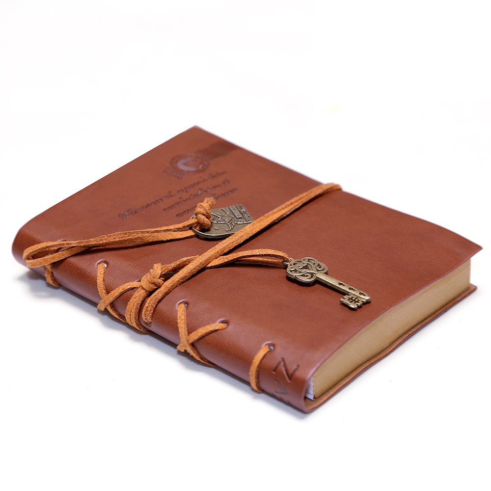 EvZ Diary String Key Leather Bound Notebook, Brown 1