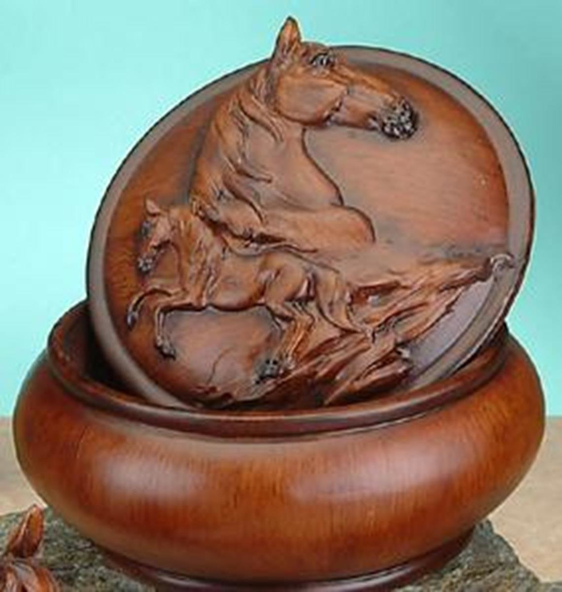 StealStreet Faux Wood Horse Jewelry Trinket Box Collectible Decoration Container