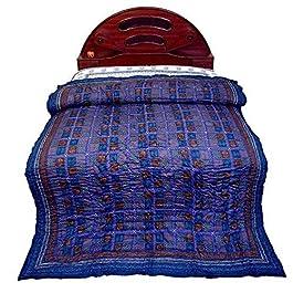 Bloque de mano Bagru Little India cama doble estampado azul