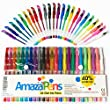 AmazaPens Gel Coloring Pens. Assorted 24 Pack, 40% More Ink Than Other Sets! Glitter, Neon & Pastel. Superior Quality Colored Pen. Best Gift for any Adult or Child Who Loves to Draw, Write or Color.