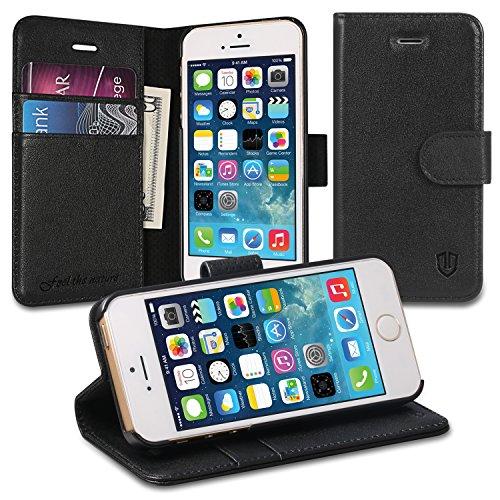 iPhone SE ケース / iPhone 5s ケース / iPhone 5 ケース 本革 手帳型 SHIELDON® iPhone SE / iPhone 5s / iPhone 5 カバー スタンド機能付き カードホルダー アイフォン5s / アイフォン5 マグネット式 ウォレット財布型 ブラック