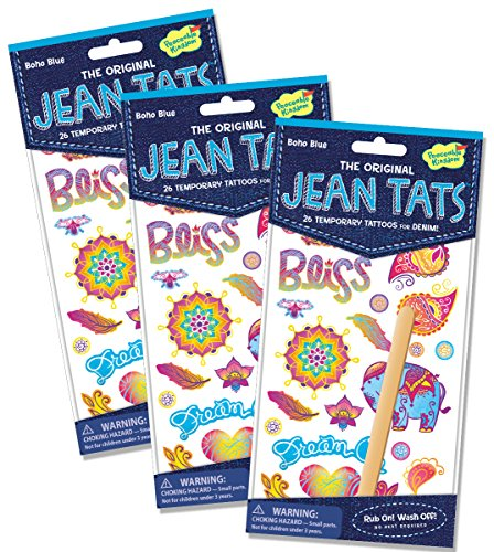 Peaceable Kingdom Jean Tats 'Boho Blue' Temporary Tattoos for Fabric - 3 Pack - 1