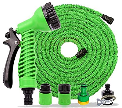 100ft GREEN Expandable Expanding hose Non Kink With 7 function spray gun - STRONG TPE LAYER HOSES - NOT CHEAP SINGLE LAYER - GLOBEL ELECTRONICS®