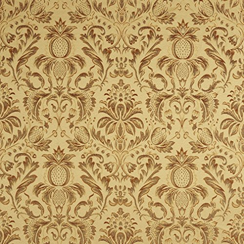 F552-Sage-Green-Orange-Gold-And-Burgundy-Floral-Pineapple-Damask-Upholstery-And-Drapery-Grade-Fabric-By-The-Yard-by-Discounted-Designer-Fabrics