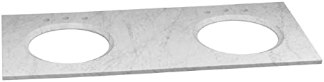 "Ronbow 301161-8D-CW 61"" x 22"" Marble Vanity Top with 8"" Widespread Faucet Hole, Carrara White"