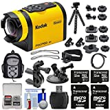 Kodak PixPro SP1 Video Action Camera Camcorder - Aqua Sport Pack + Handlebar Bike & Suction Cup Mounts + 64GBs + Backpack + Tripod Kit