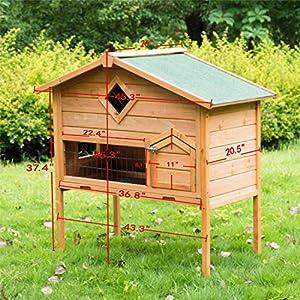 Pawhut 2 Storey Wooden Rabbit Hutch Chicken Coop Pet Hen House Cage