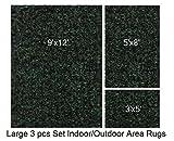 Indoor-Outdoor 3 Piece Set, Large Patio Rug's (9x12 Area Rug, 5x8 Rug, 3x5 Mat) (Emerald Green)