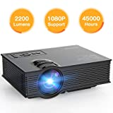 APEMAN Projector Upgraded Mini Portable Projector 2200 Lumens LED Full HD Video Home Theater Supports 1080p HDMI/VGA/USB/SD Card/AV Input Remote Control Video Game Chromecast for Family Entertainment (Color: LC250, Tamaño: LC-250)