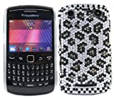 ITALKonline FunkGem BLACK SILVER LEOPARD Diamonte Crystals Super Hydro Gel Protective Armour/Case/Skin/Cover/Shell for BlackBerry 9360 Curve