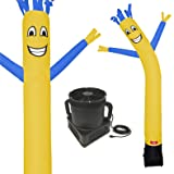 7 Foot Inflatable Dancing Wacky Air Tube Man - Sky Guy Comes Complete with Puppet Dancer Balloon and Blower Included (Yellow Body with Blue Arms) (Color: Yellow Body With Blue Arms)