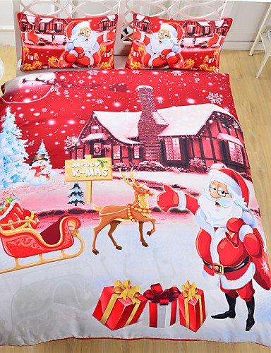 XP HOME biancheria da letto di notte di Natale tessuti per la casa roventi Babbo Natale stampato lenzuolo famiglia 3pcs lino a due letti queen , twin